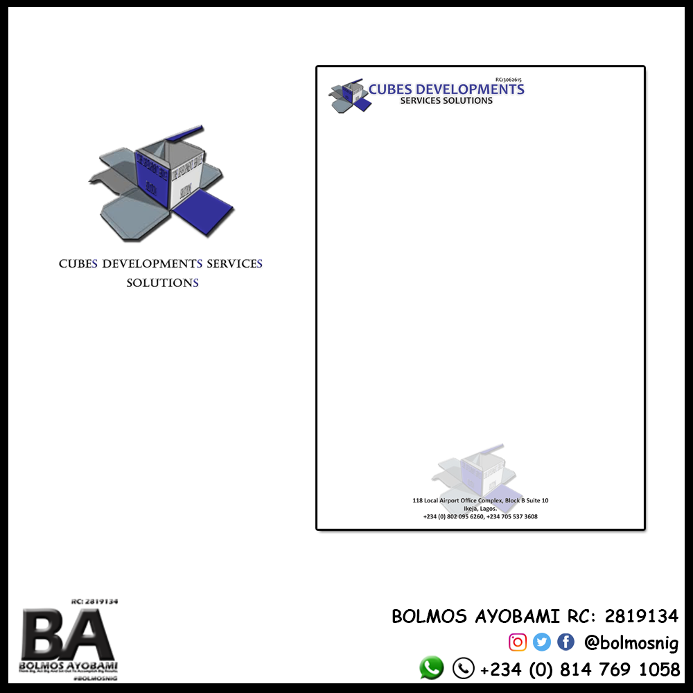 Cubes Developments Services Solutions Logo and Letter Head Design