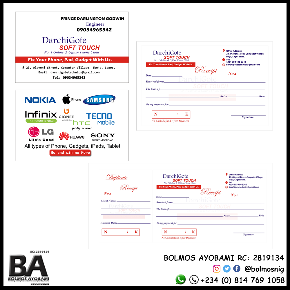 DarchiGote Business Card, Recepit and Invoice