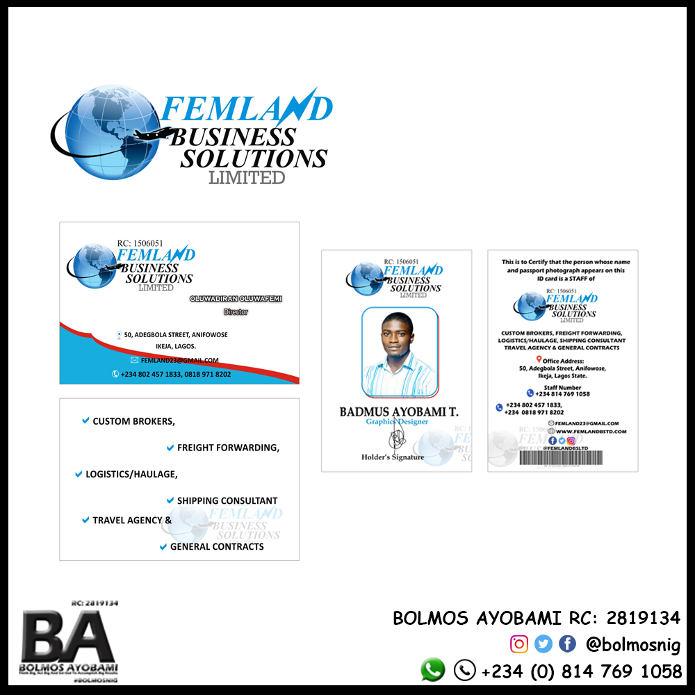 Femland Logo, Business Card and ID card Design