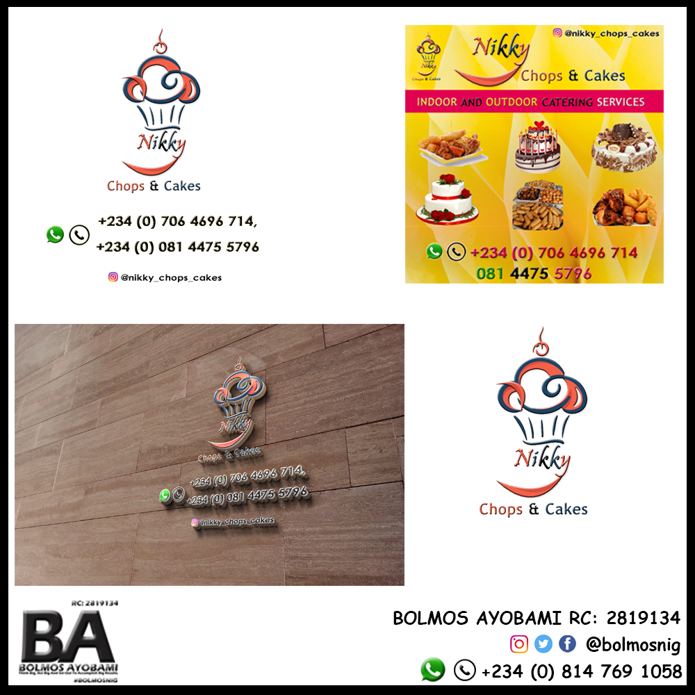 Nikky Chops and Cakes Logo Designs