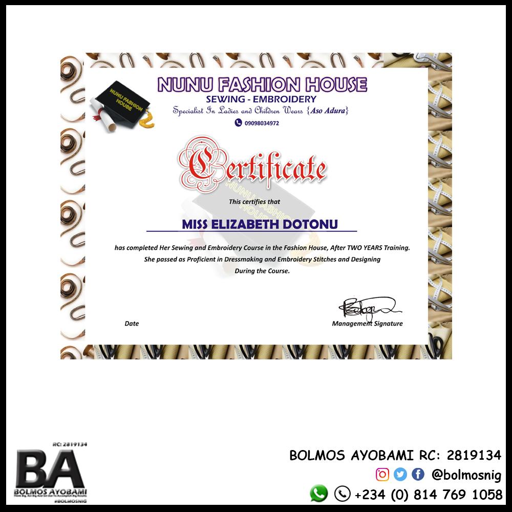 Nunu Fashion Certificate Design