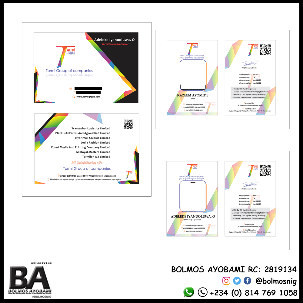 Tormin Group of Companies ID card and Buiness Card Design