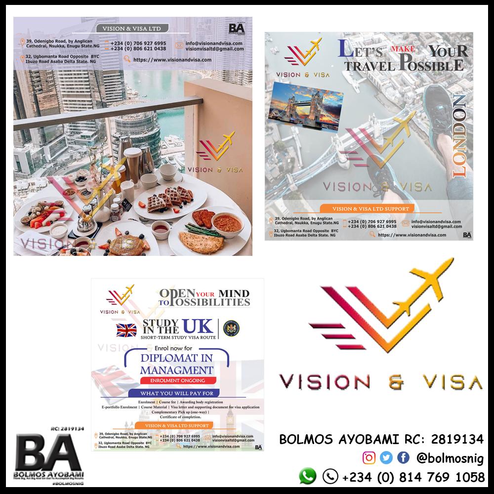 Vision and Visa Logo and Flyer Design